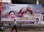 Chennai floods : controversial banner of Jayalalitha
